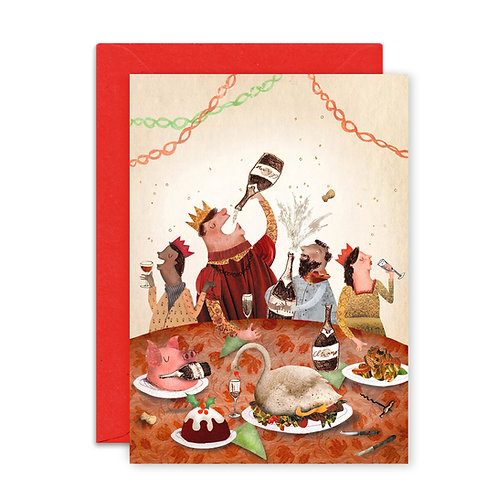 Christmas Champagne Greetings Card
