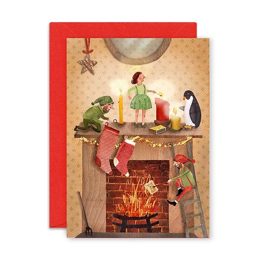 Christmas Mantelpiece Greetings Card