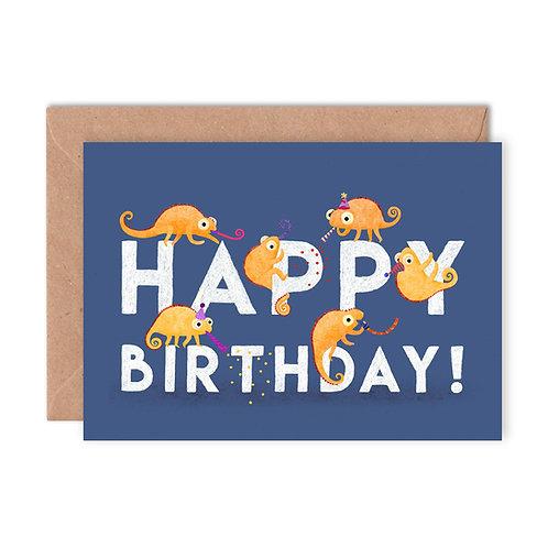 Birthday Chameleons Greetings Card