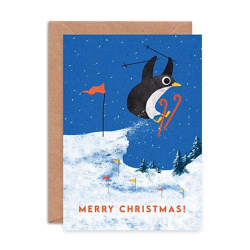 Skiing Penguin Christmas Card