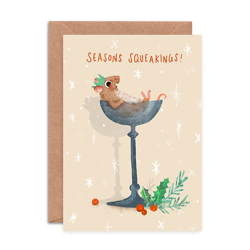 Cocktail Mouse Christmas Card