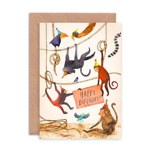 Happy Birthday Monkeys Greetings Card