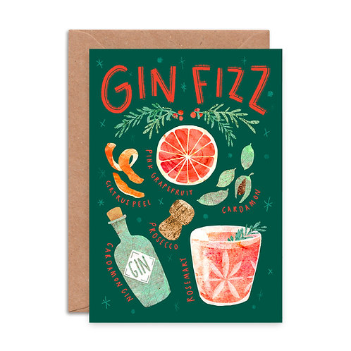Fizz Cocktail Christmas Card