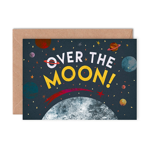 Over the Moon Greetings Card