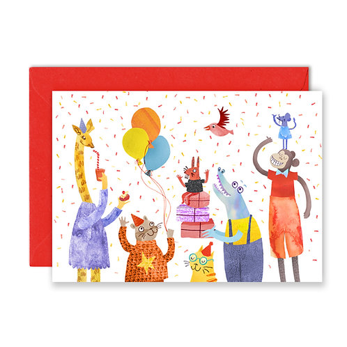 Party Animals Greetings Card