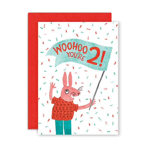 Two Years Rabbit Greetings Card