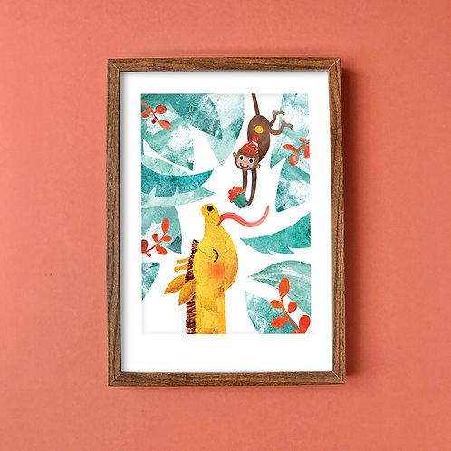 Giraffe & Monkey Recycled A4 Art Print