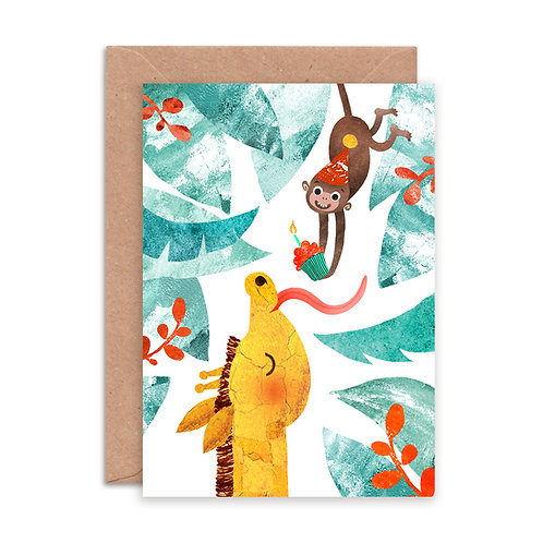 Giraffe & Monkey Greetings Card