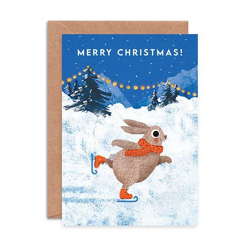 Ice Skating Rabbit Christmas Card