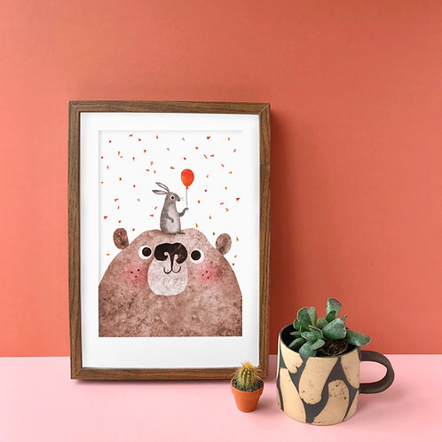 Bear & Bunny Recycled A4 Art Print