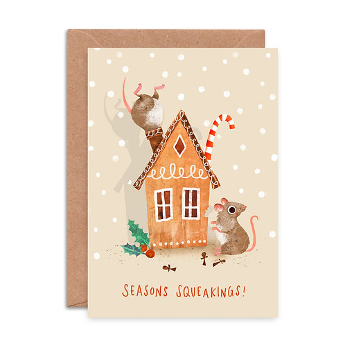 Gingerbread Mice Christmas Card
