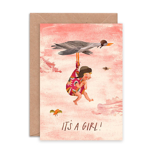It's a Girl Stork Greetings Card