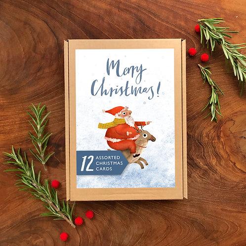 Christmas Scenes Multipack of 12 Greetings Cards