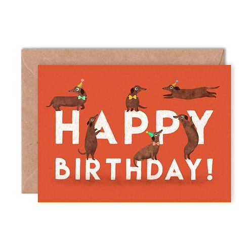 Birthday Sausage Dogs Greetings Card