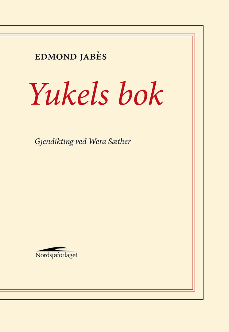 LE LIVRE DE YUKEL av Edmond Jabès, gjendiktet av Wera Sæther  Le Livre de Yukel kom ut i Paris i 1964. Boken er en frittstående del av det store – av forfattere og filosofer mye omtalte - verket Le Livre des Questions (Spørsmålenes bok), som Edmond Jabès (1913-1991) skrev i løpet av årene 1963-1973. Spørsmålenes bok er også tittelen på den første boken i verket som Wera Sæther gjendiktet i 1991. Materialet har aldri sluppet henne. I essayet bak i boken skriver hun om hvorfor. Hun forklarer også hvordan Jabès' skrift er et forsøk på å si noe når intet mer kan sies, at det er en tekst etter «shoah», ødeleggelsen. Derfor blir kjærlighetshistorien mellom Yukel og Sara til en «bruddtekst», en poetisk eksperimentell vev av dikt, tanker, dialoger, besvergelser, brokker av fortellinger og dagboksfragmenter, dypt forankret i den jødiske tradisjonen og den kabbalistiske mystikken.