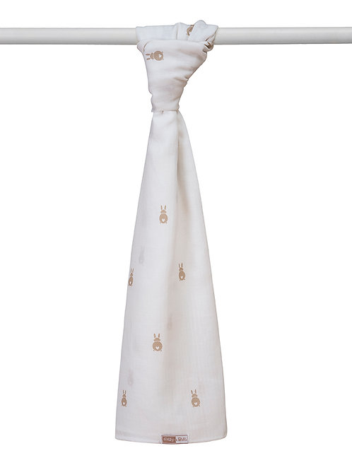 Extra Large Comfort Swaddle Muslin - Bunny print