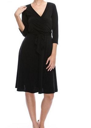 Riviera Knee Length Faux Wrap Dress