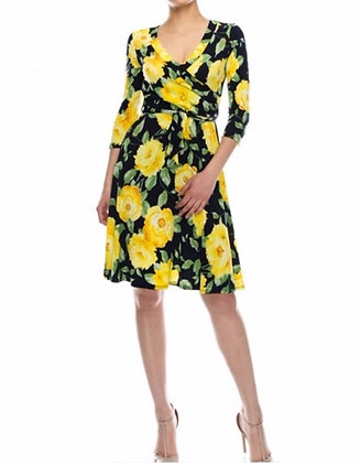 Yellow Rose Faux-Wrap Dress