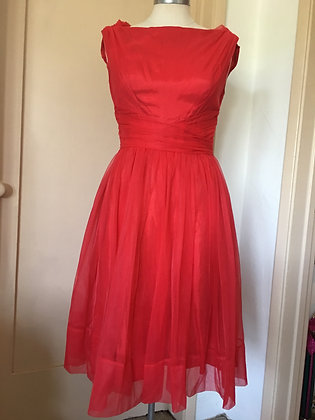 Vintage Red Chiffon Dress