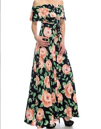 Pink Rose Shoulder Maxi Dress