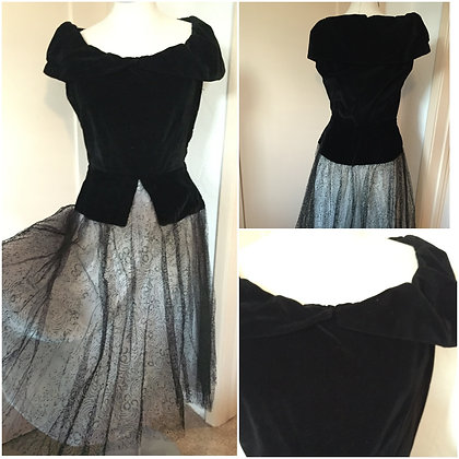 VINTAGE - Dress- Velvet & Taffeta w/Lace Overlay