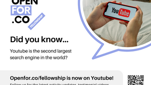 Openfor.co/fellowship is now on YouTube