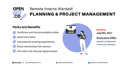 [Recruiting: Interns] Remote Planning & Project Management Intern