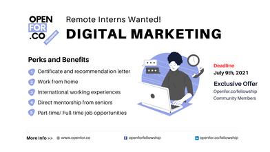 [Recruiting: Interns] Remote Digital Marketing Intern