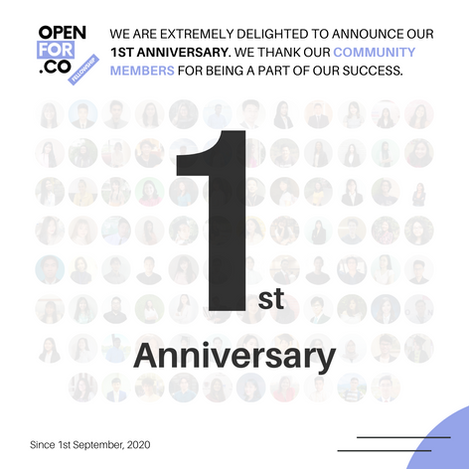 Celebrating One year Anniversary of Openfor.co/fellowship