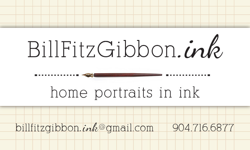 custom logo for Bill FitzGibbon home portraits in ink