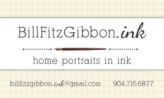 custom logo for Bill FitzGibbon home portraits in ink