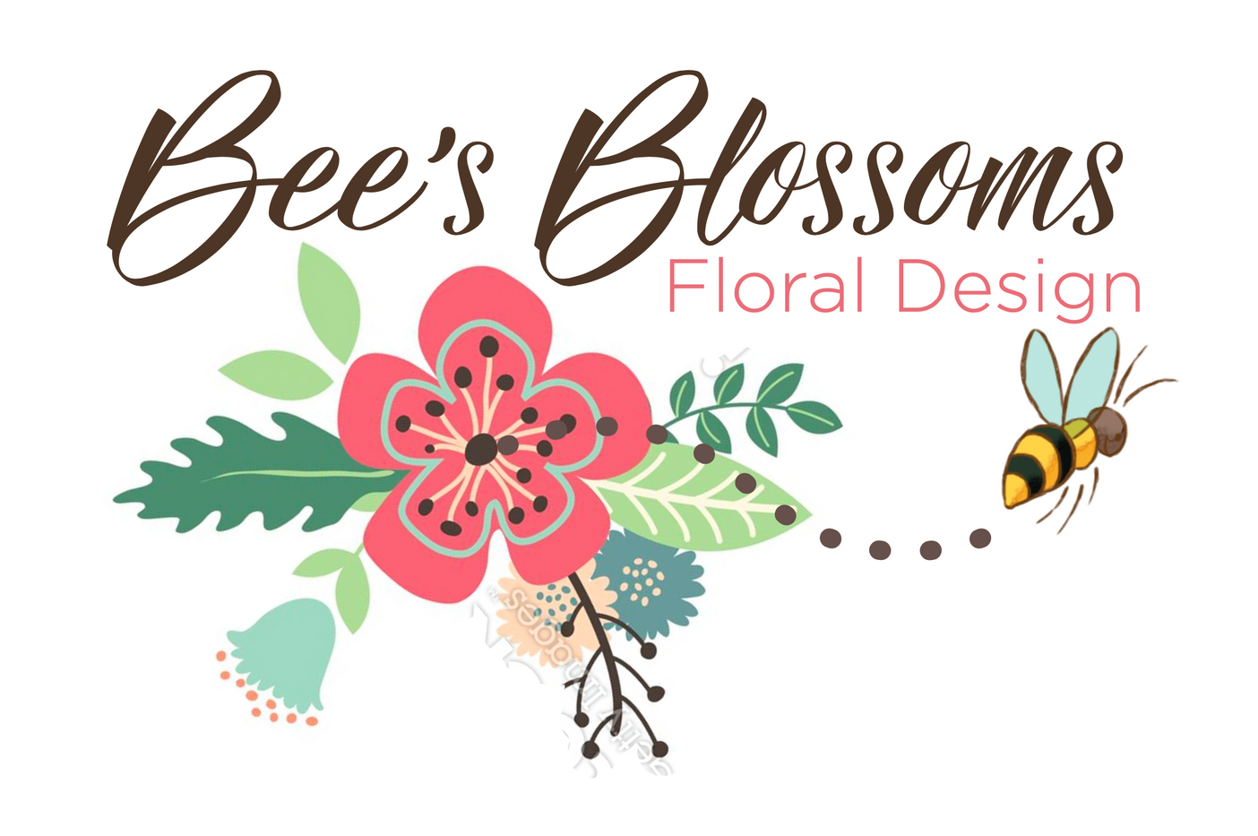 Custom logo design of bouquet of flowers and a bee made for Bee's Blossoms Floral Design
