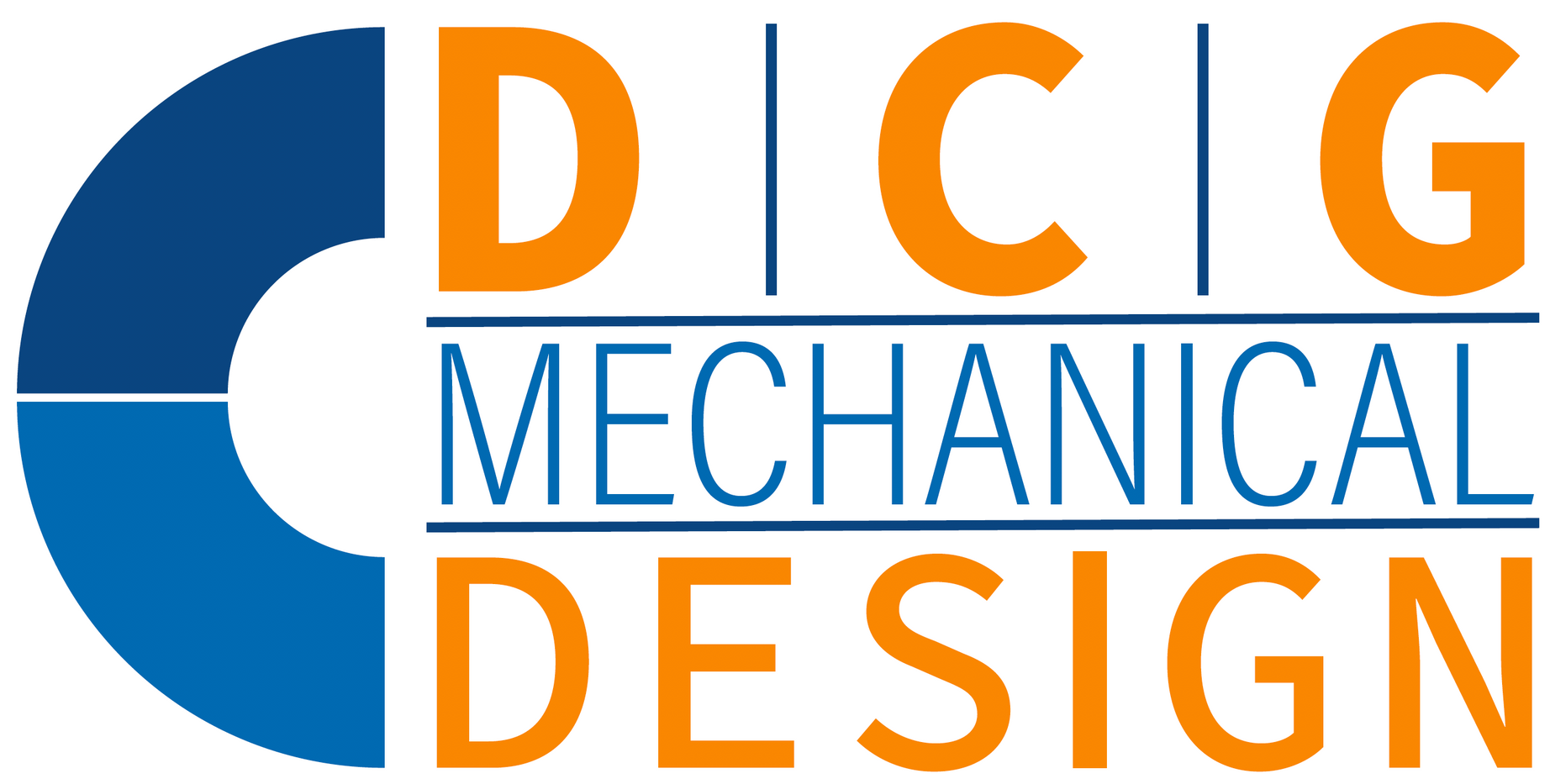 custom orange and blue logo for DCG Mechanical Design