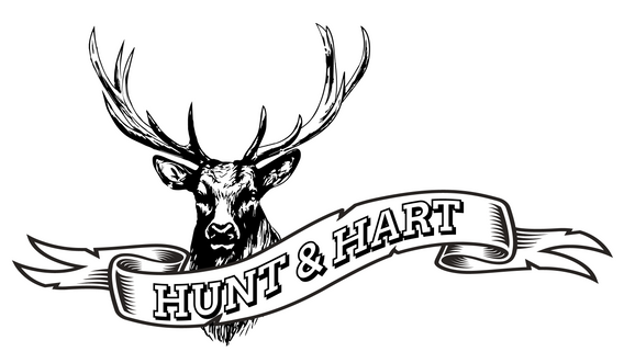 Custom logo of a buck with antlers for Hunt & Hart leather goods