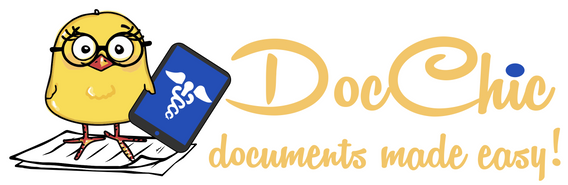 custom logo of a cartoon chic holding medical records for Doc Chic