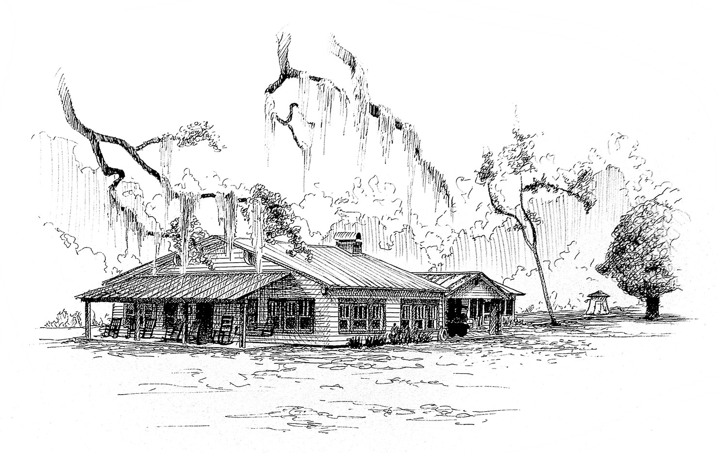 original pen and ink of the Powell farmhouse by Bill FitzGibbon