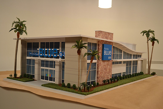 to scale model of Florida blue building