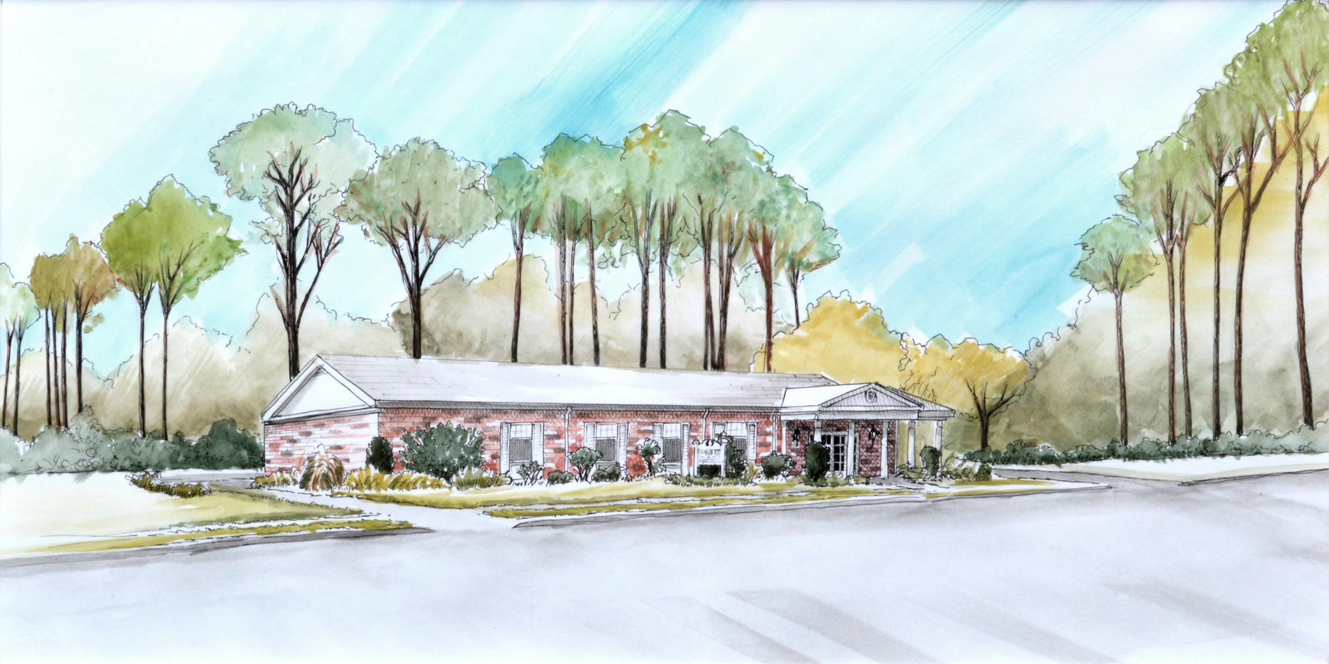 original watercolor drawing of a building by Bill FitzGibbon