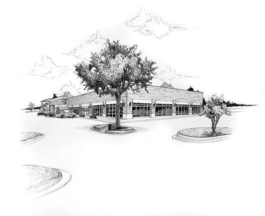 custom pen and ink illustration of the Kessler building in Jacksonville