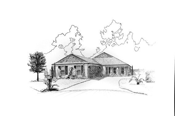 original pen and ink illustration of family home by Bill FitzGibbon