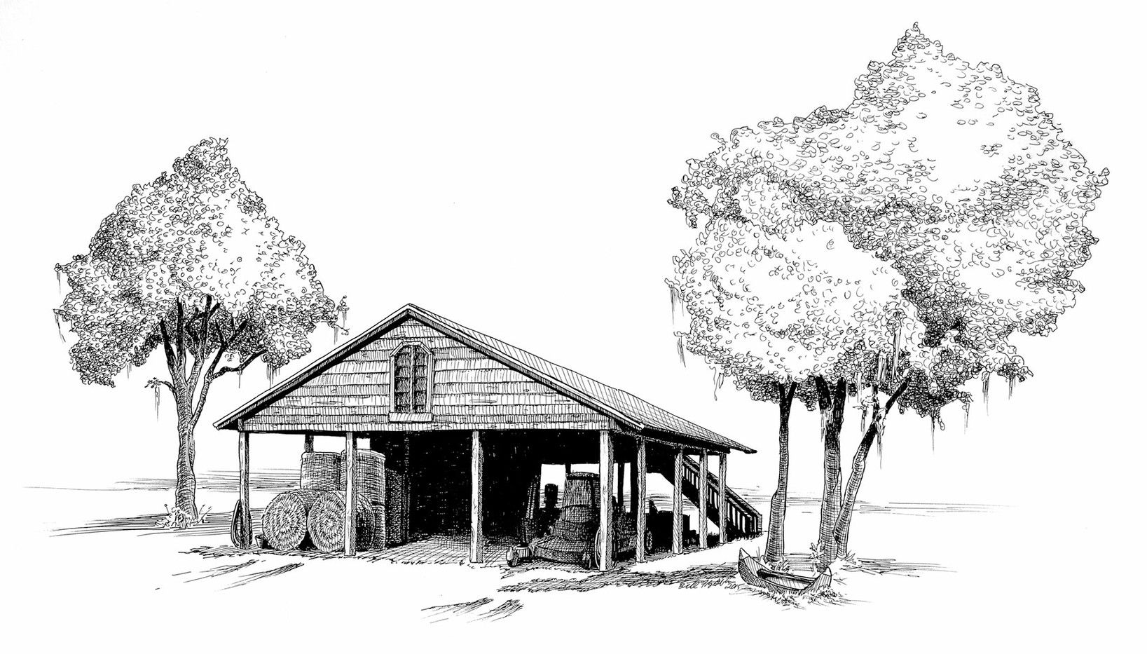 original pen and ink of a hay barn by Bill FitzGibbon