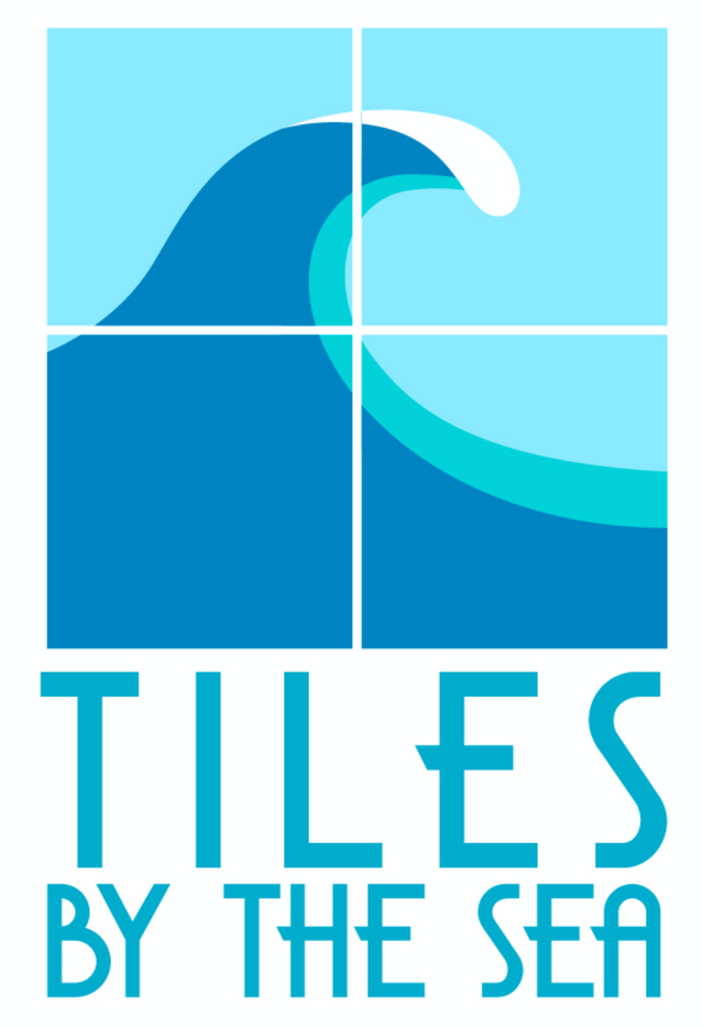 Tiles by the Sea custom logo depicting an ocean wave on tiles