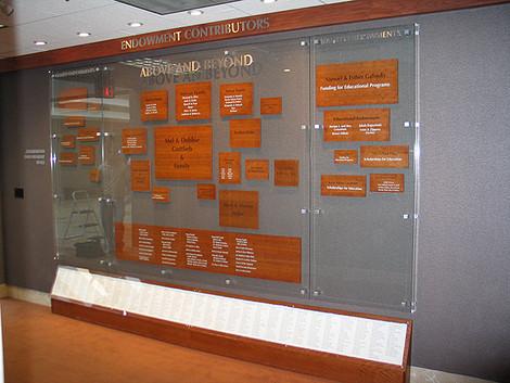 JJC Contributor's wall display on glass