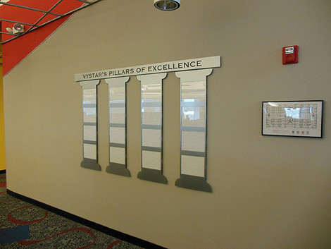 Vystar pillars of excellence display in the shape of pillars