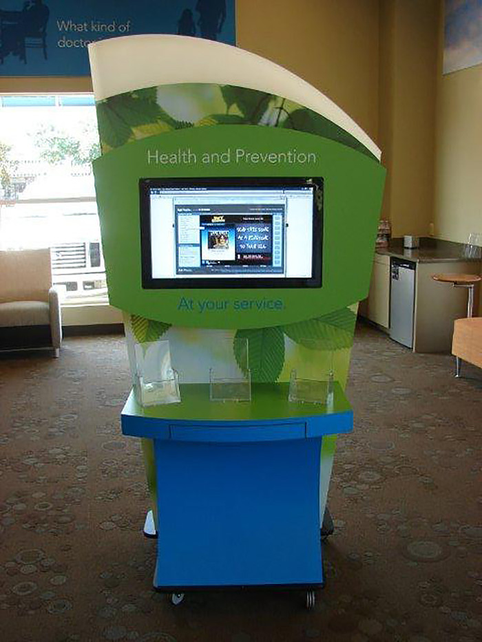 Custom kiosk with monitor display for BCBS