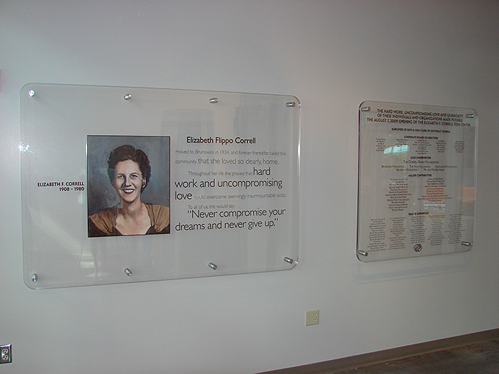 environment design of portrait of company founder on glass