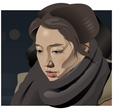 digital art painting of a woman with a winter scarf