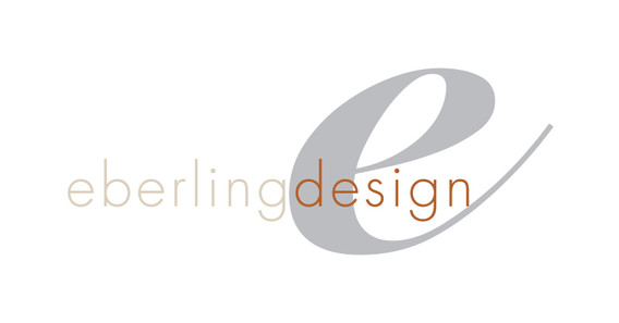 custom logo of the letter e with the name eberling design on top