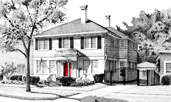 pen and ink illustration of a two story home with a red door by Bill FitzGibbon