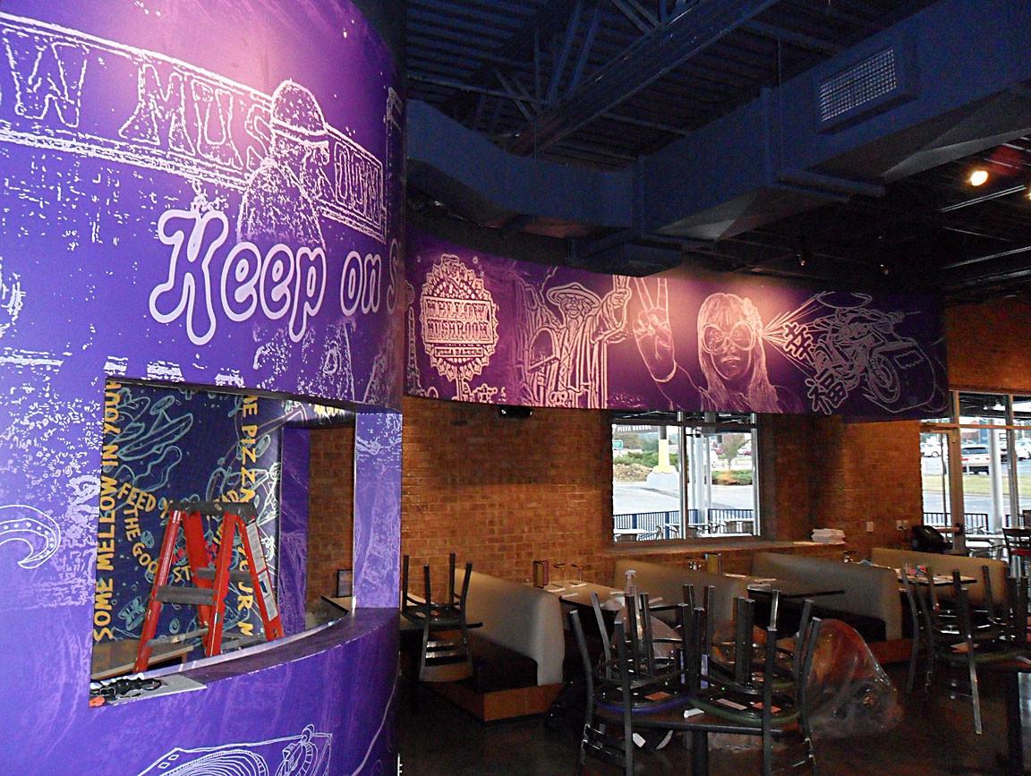 custom fun wall mural for a pizza restaurant